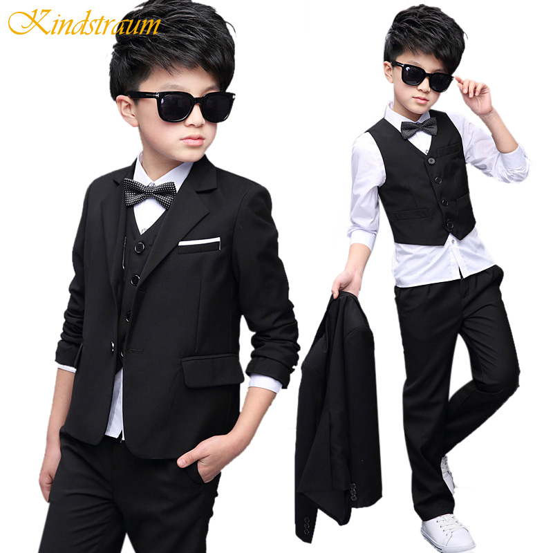 Kindstraum 5pcs Children Clothing Sets Boys Formal Suits Cotton Solid Blazer+Vest+Shirt+Pant+Tie Kids Wedding Party Wear, MC731 kindstraum school trend boys formal clothing suits shirt vest pants tie 4 pcs set children sets party