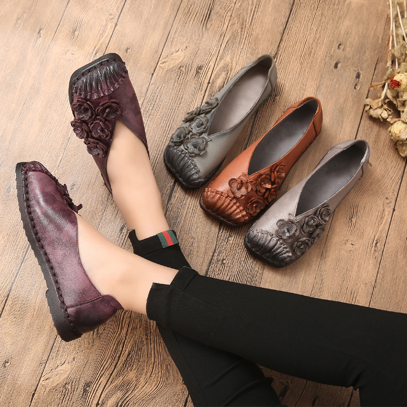 new women 2018 spring autumn genuine leather handmade flat heel slip on boat shoes  flower moccasins loafers  driving shoes 5236 pl us size 38 47 handmade genuine leather mens shoes casual men loafers fashion breathable driving shoes slip on moccasins