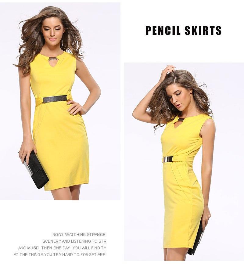 Women Summer Dress Fashion Hollow Out Sleeveless Pencil Dress Knee Length Women Casual Dresses Yellow Red Blue Black Plus Size 6