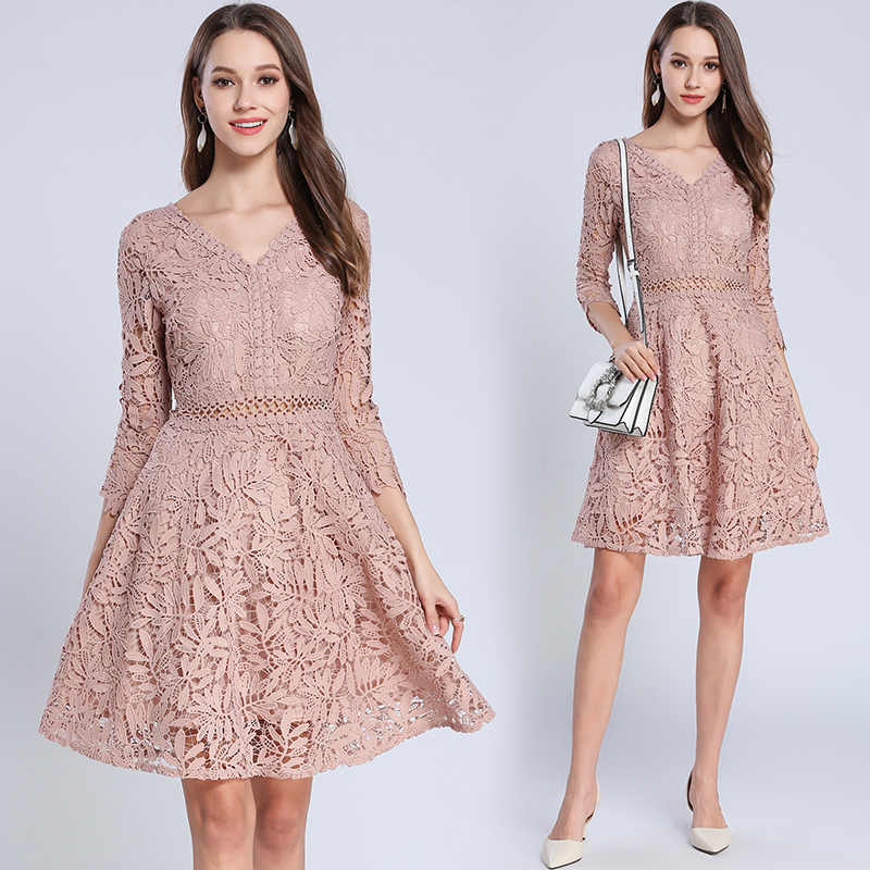 ... Fall 2019 Fashion V Neck Lace Dress Women Sexy autumn Korean Ladies  Dresses 9a2f3634ffb9