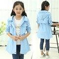 Crianças jaquetas para as meninas do bebê trincheira casaco longo blusão de algodão criança para roupas de menina primavera outono outfit 6 8 10 12 anos