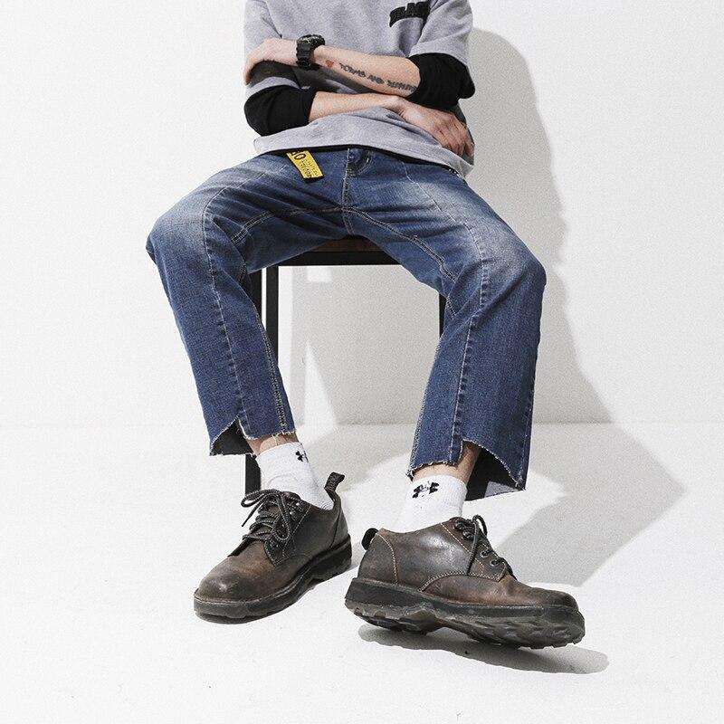 YINOS Off White Ribbons Retro Loose Wild Leg Men Jeans Leg Moustache Asymmetric Vintage Denim Trousers Straight Pants 2017