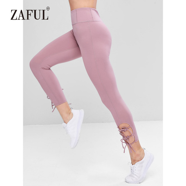 368061a7eed92 ZAFUL Yoga Pants Active Side Tie Tight Leggings Mauve Sports Leggings High  Waisted Tight Slim Fit Solid Women Yoga Leggings