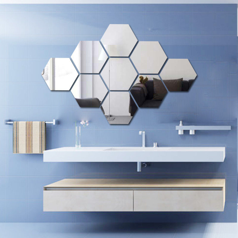 Hot Sale Diy 12pcs Geometry Hexagon Mirror Wall Stickers Home
