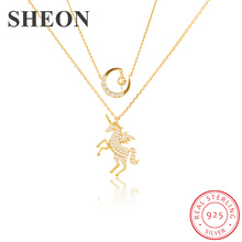 SHEON Unicorn Necklace 925 Sterling Silver Sparkling Pegasus Moon and Star Zircon Necklaces & Pendants Women Jewelry
