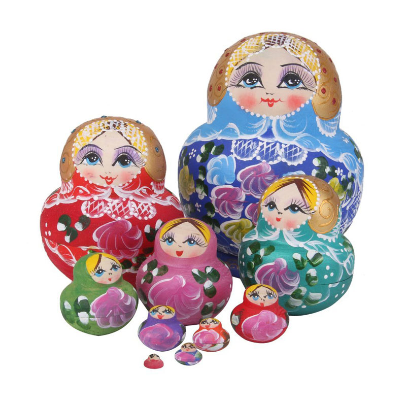 2016 10pcs/ Set Russian Matryoshka Wishing Dolls Nesting Wooden Hand Printed Home Decor Craft Doll Kids Gifts TB Sale