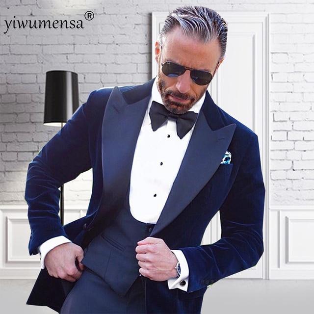 Ywms Abito Hombre scuro Abiti Traje 29 sposa di da Blu Homme Giacca di Bordado uomo Costume vellutovestpant Uomo lusso 2018 Suit DHWE9I2