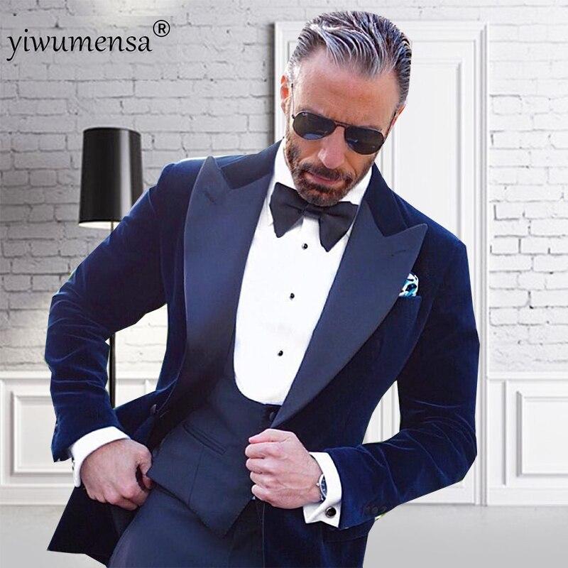 YWMS 29 traje homme trajes de lujo 2018 traje hombre bordado hombres vestido de boda traje chaqueta de terciopelo azul marino + chaleco + trajes de pantalón para hombre-in Trajes from Ropa de hombre    1