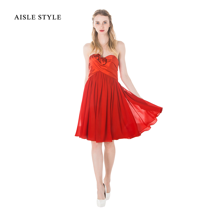 Online get cheap red knee length bridesmaid dress aliexpress modern red bridesmaid dresses for maternity women knee length a line strapless satin chiffon wedding ombrellifo Image collections