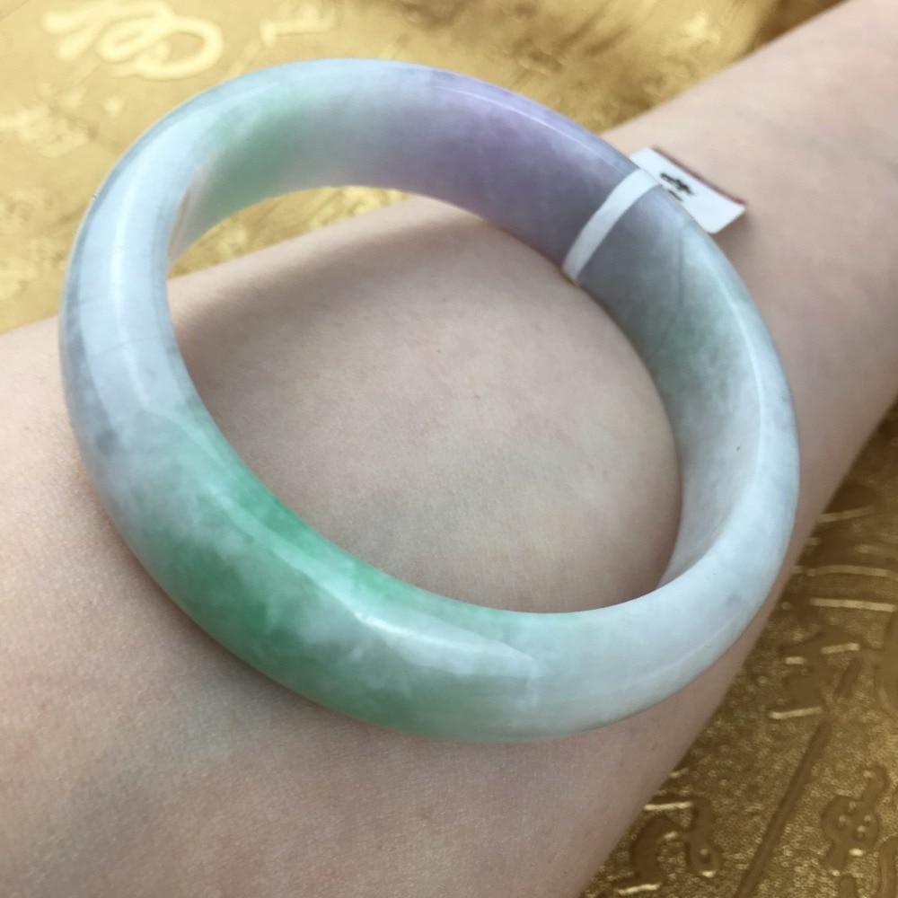 Send A certificate natural Jadeite bracelet Natural elegant purple green two-color 54-61mm bracelet Jewelry giftSend A certificate natural Jadeite bracelet Natural elegant purple green two-color 54-61mm bracelet Jewelry gift