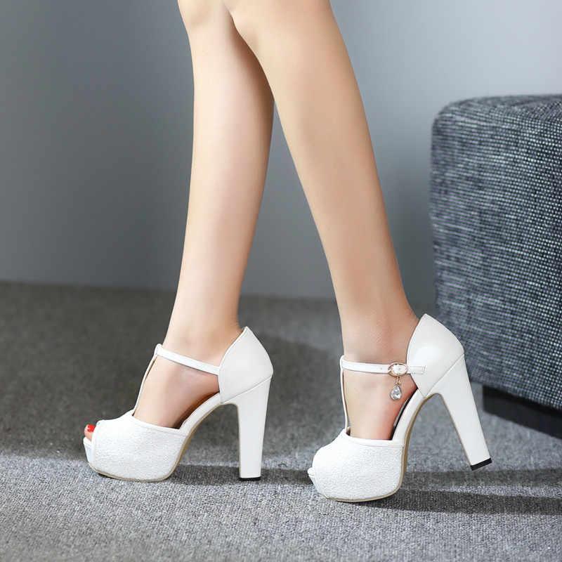 YMECHIC Womens Sandals Summer 2018 White Glitter T Strap Platform High Heels  Peep Toe Lady Wedding 00370e572ef2