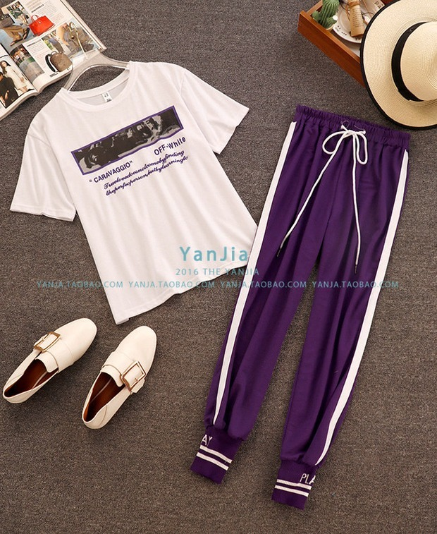 2018 Summer New Fashion Women White Letter Print Casual T-shirts + Elastic Waist Lace-up Side Striped Pencil Pants 2 Piece Sets 7