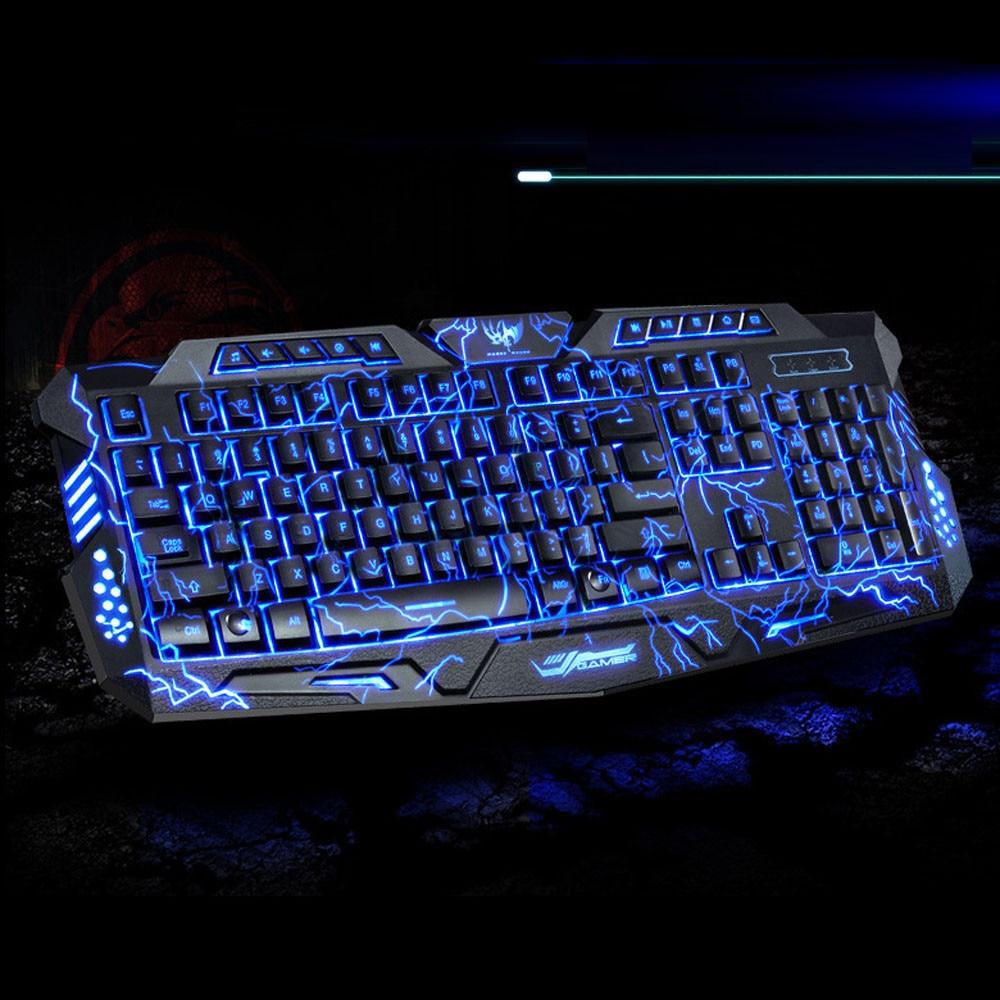 Best Price 3 Colors USB Illuminated Led Backlit Backlight Gaming Crack Keyboard M200