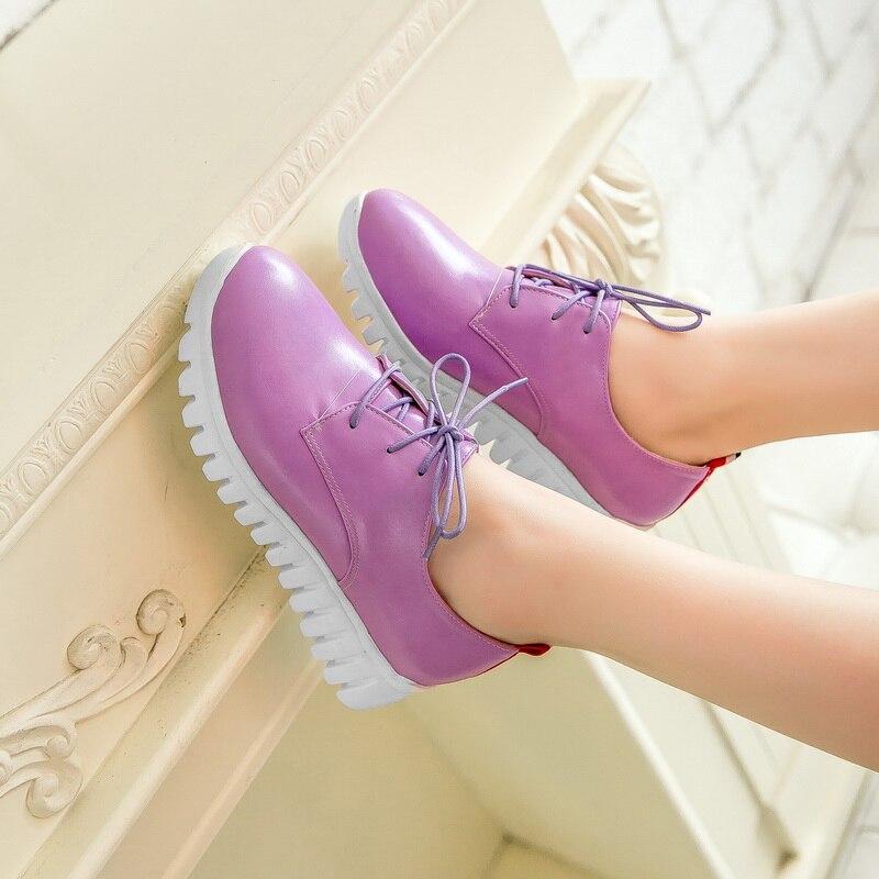 Nouveau Chaussures Casual Femmes forme Up lavande Lace Taille Richelieu Petite En Grande Rond Plate Vente Cuir 8086 Et Bout Noir jaune Verni Plus rouge 29 46 rhdsCBtQx