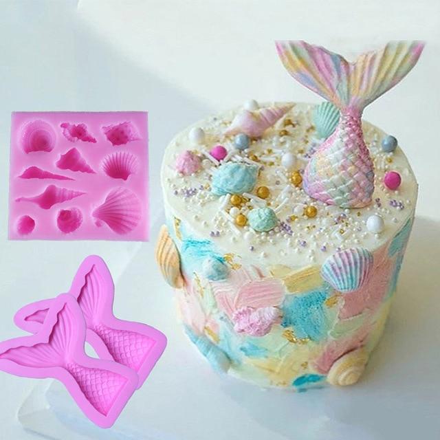 Gương Xà Phòng Bánh Cupcake Trang Trí Dụng Cụ Kẹo Cao Su Dán Chocolate Khuôn Silicon Fondant Khuôn Làm Bánh Kẹo Khuôn Người Cá Xà Cừ