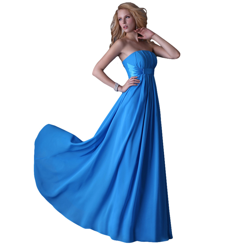 dd9422086c8ca Blue Strapless Long Evening Dress for Pregnant Women Cheap Formal Gowns  Soft Chiffon Pleated Special Occasion Dresses 3458-in Evening Dresses from  Weddings ...