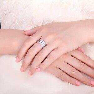 Image 4 - JPalace prenses Vintage nişan yüzüğü seti kadınlar için 925 ayar gümüş yüzük alyanslar gelin setleri gümüş 925 takı