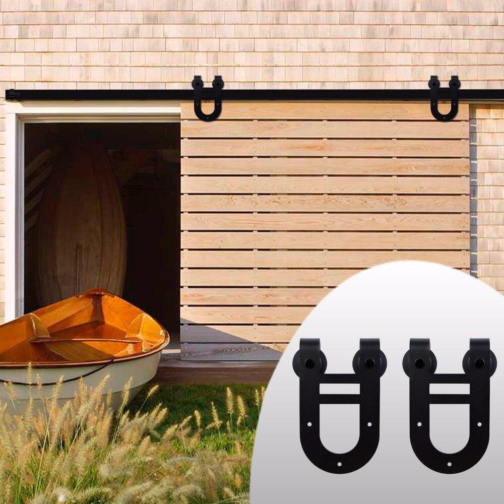 LWZH Sliding Wood Barn Door Hardware Kit Black Steel Double Horseshoe-Shaped Hangers for Single Door 6FT/6.6FT/7FT/8FT/9FT 4 9ft 6ft 6 6ft carbon steel bypass barn wood sliding door system