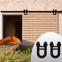 LWZH Sliding Wood Barn Door Hardware Kit Black Steel Double Horseshoe Shaped Hangers For Single Door