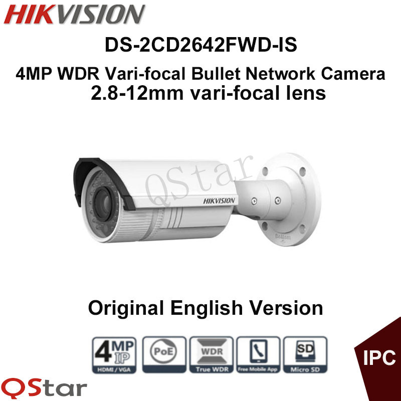 Hikvision Original English Version DS-2CD2642FWD-IS 4MP WDR Vari-focal Bullet Network IP Camera IP67 POE Audio CCTV Camera hikvision 4mp ip camera ds 2cd1641fwd i 4mp vari focal network camera hd 1080p real time video ir bullet poe cctv camera