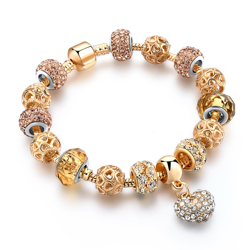 ATTRACTTO GIFT!!! 2019 Crystal Heart Charm Bracelets For Women Gold Beads Bracelet&Bangles Pulseria Jewellery Bracelet SBR170006