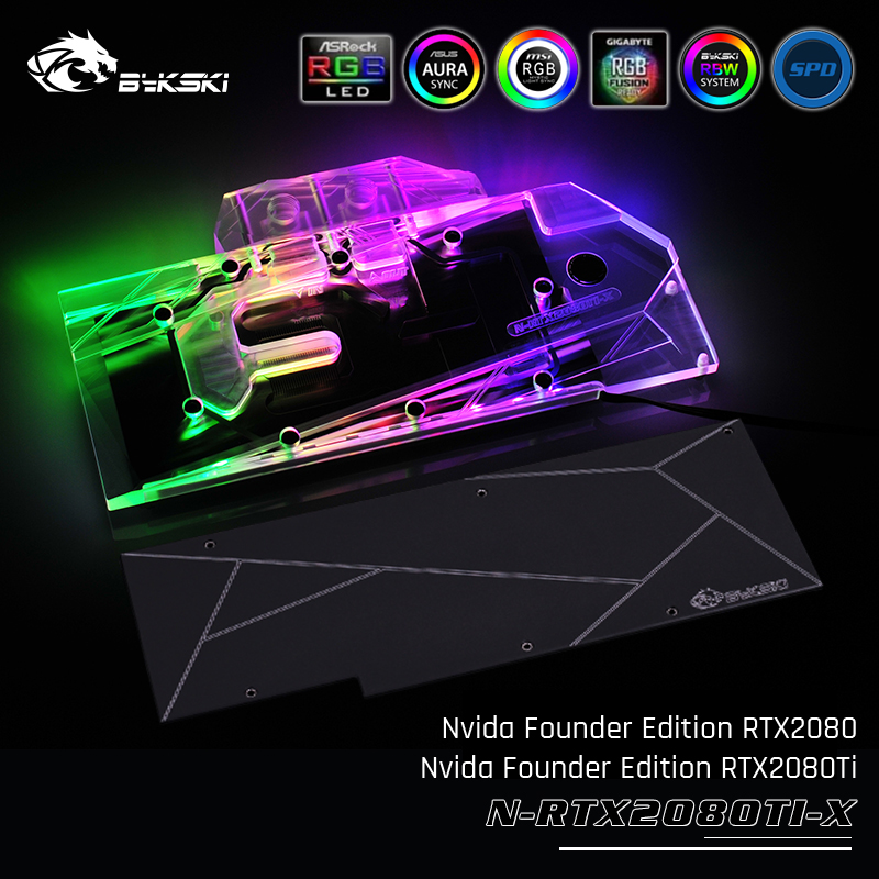 Bykski N RTX2080TI X Full Cover Graphics Card Water Cooling Block Exclusive Backplane For Nvida Founder