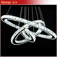 Free Style Modern Minimalist Three Rings LED K9 Crystal Chandelier Creative Circle Crystal Lamp for Living Room Bedroom Lighting