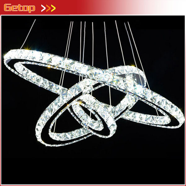 Free Style Modern Minimalist Three Rings Led K9 Crystal Chandelier Creative Circle Lamp For Living