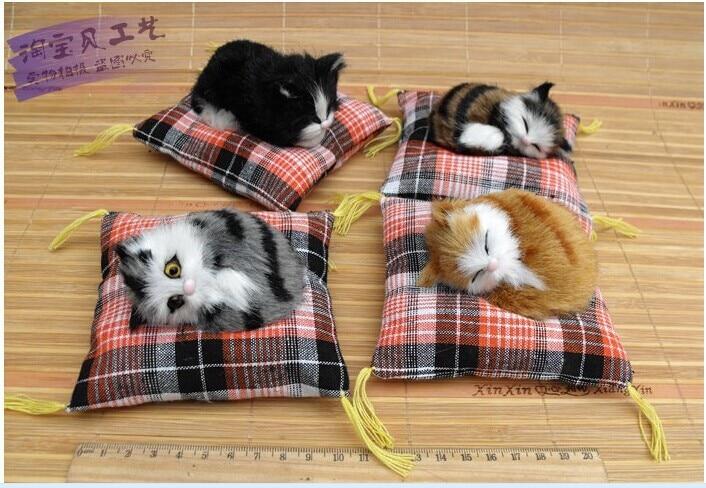 10cm 2046에 대한 4 조각 작은 시뮬레이션 고양이 장난감 귀여운 미니 고양이 인형 자동차 장식 선물 인형