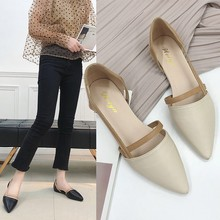 купить 2019 spring hollow coarse sandals high-heeled shallow mouth pointed pumps shoes women Female sexy high heels large size дешево