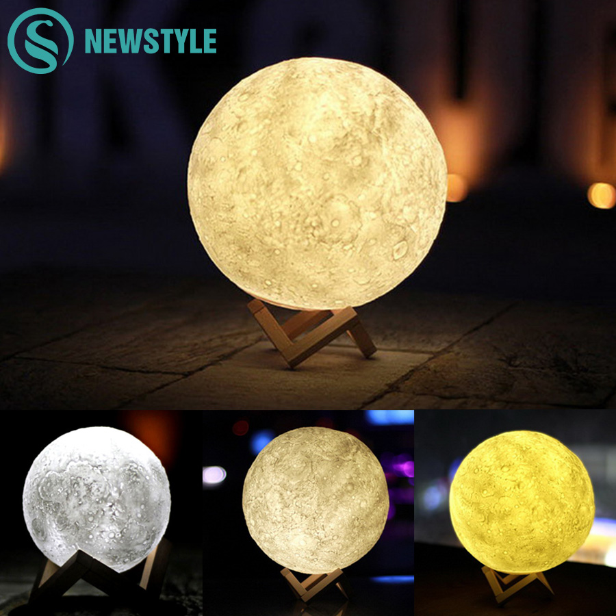 3D Moon LED Night Light 3 Modes Color Changing Desk Lamp USB Rechargeable Ball Lamp Novelty for Home Decoration Christmas Gift novelty magnetic floating lighting bulb night light wood color base led lamp home decoration for living room bedroom desk lamp