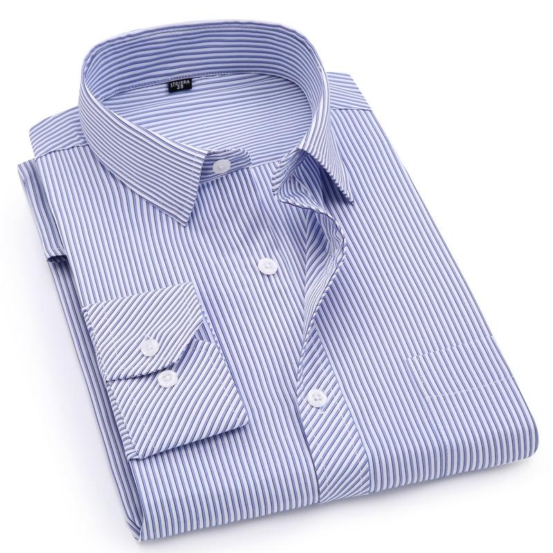 a7c8f04d4d Além de Grande Tamanho 8XL 7XL 6XL 5XL 4XL Mens Business Casual de Manga  Comprida Camisas de Vestido Camisa Listrada Clássico Masculino Sociais roxo  Azul ...