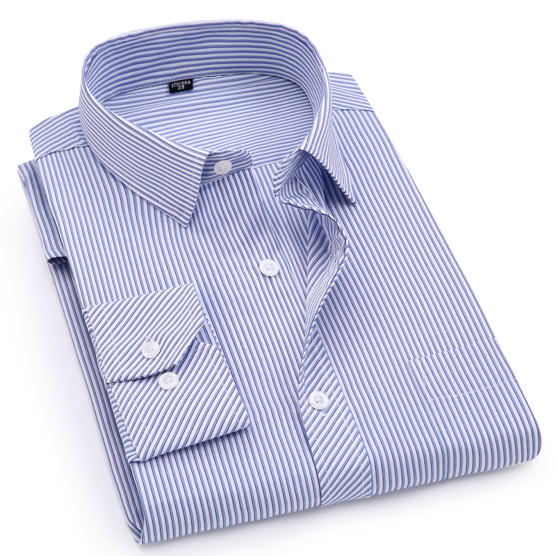 Plus Large Size 8XL 7XL 6XL 5XL 4XL Mens Business Casual Long Sleeved Shirt Classic Striped Male Social Dress Shirts Purple Blue 3
