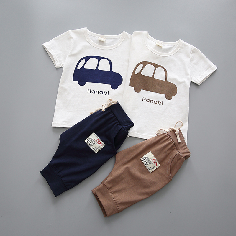 YiErYing Newborn Clothing Fashion Cartoon Summer Leisure Cotton 2Pcs T-shirt+Pants For Baby Boy Girl Clothes Sets