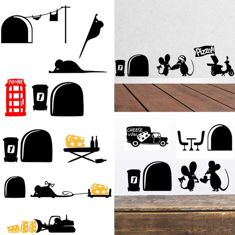 Lucu Kucing Hitam Kue Mouse 3D Hidup Lubang Mobil Stiker Stiker Dinding Rumah Stiker Kamar Tidur Hari Valentine Dekorasi