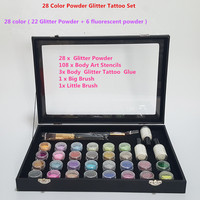 28 Colors Powder Temporary Hot sale Glitter Tattoo Kit for Body Art Design Paint with Stencil Glue and Brushes Ttattoo set