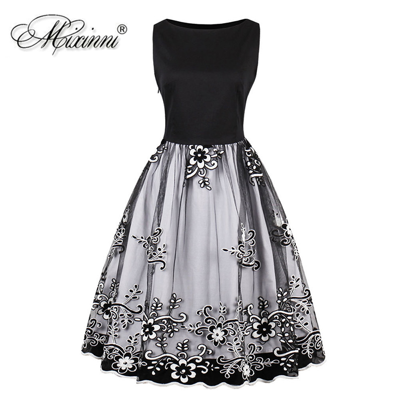 MIXINNI Embroidery Vintage Dress Cotton Slim Vestidos Mujer Women Clothing  Elegant Party Dress Plus Size 4XL