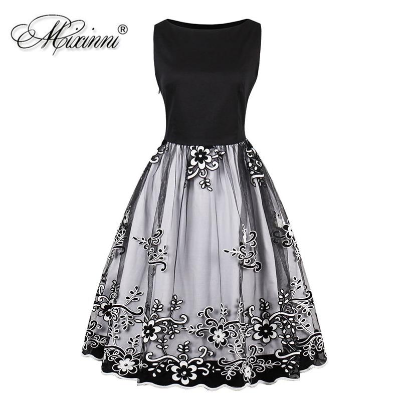 MIXINNI Embroidery Vintage Dress Cotton Slim Vestidos Mujer Women Clothing  Elegant Party Dress Plus Size 4XL