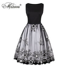 MIXINNI Embroidery Vintage Dress Cotton Slim Vestidos Mujer