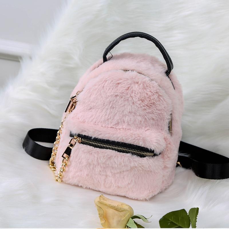 Winter Women Faux Fur Backpacks Girls Pink Bag Rabbit Hair Mini Daypack Soft Plush Leather Shoulder Bags Small Rucksack Escola