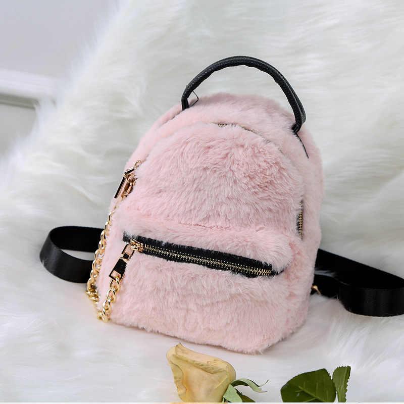 ... Winter Women Faux Fur Backpacks Girls Pink Bag Rabbit Hair Mini Daypack  Soft Plush Leather Shoulder ... c1068f1cb79a1