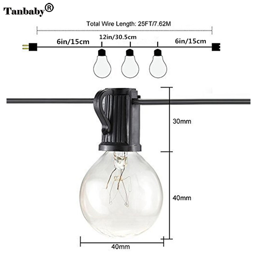 Tanbaby 25Ft G40 Warm Globe String Lights with 25 Tungsten Clear ...