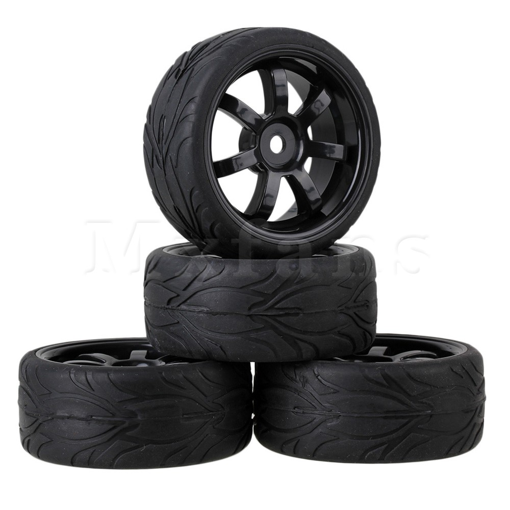 Mxfans  4x Black RC 1:10 On-road Car Rubber Fish Scale Tyre & Plastic 7-spoke Wheel Rim aluminum 6 spoke wheel rim for 1 10 rc on road racing car