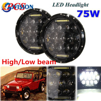 DOT Approval 2 PCS Round 7 INCH LED Headlamp 75W LED 12V Waterproof For Jeep Wrangler