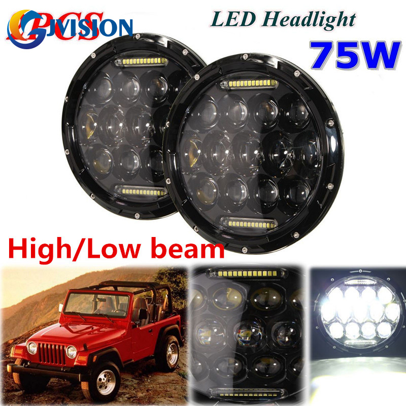 DOT Approval 2 PCS Round 7 INCH LED Headlamp 75W LED 12V Waterproof for Jeep Wrangler JK Motorcycle Off Road 4x4 Trucks lights windshield pillar mount grab handles for jeep wrangler jk and jku unlimited solid mount grab textured steel bar front fits jeep
