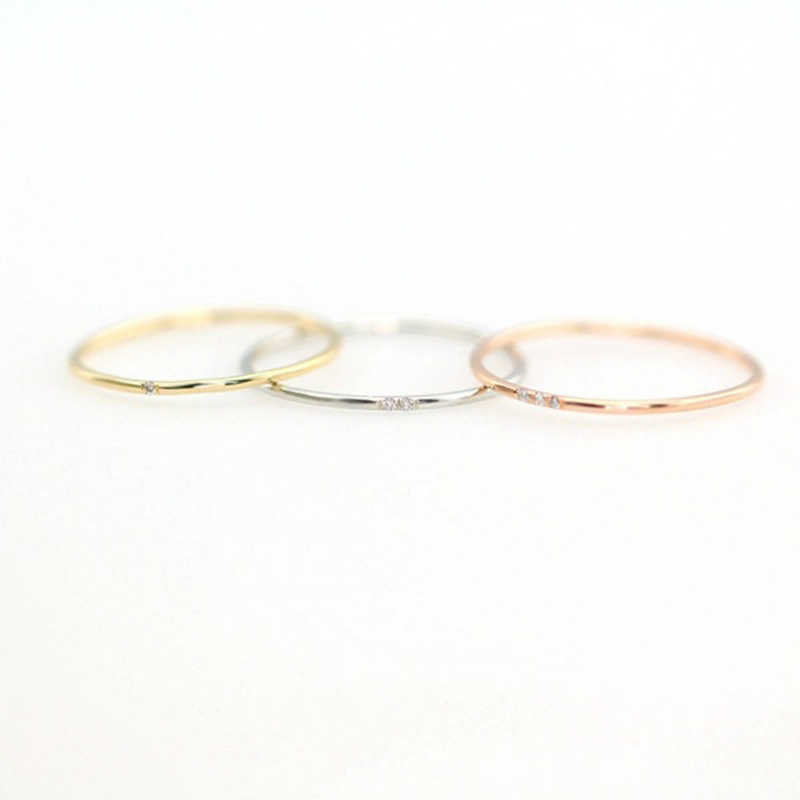 Tisonliz Stacking Female Thin Rings One Two Three Stone Rose Gold Silver Dainty Wedding Engagement Minimalist Rings For Women