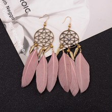 Amader 2018 Pink Boho Feather Earrings For Women Brincos Bijoux Charm Vintage Dreamcatcher Leaves Tassel Drop Earrings HQE945 dreamcatcher design feather drop earrings