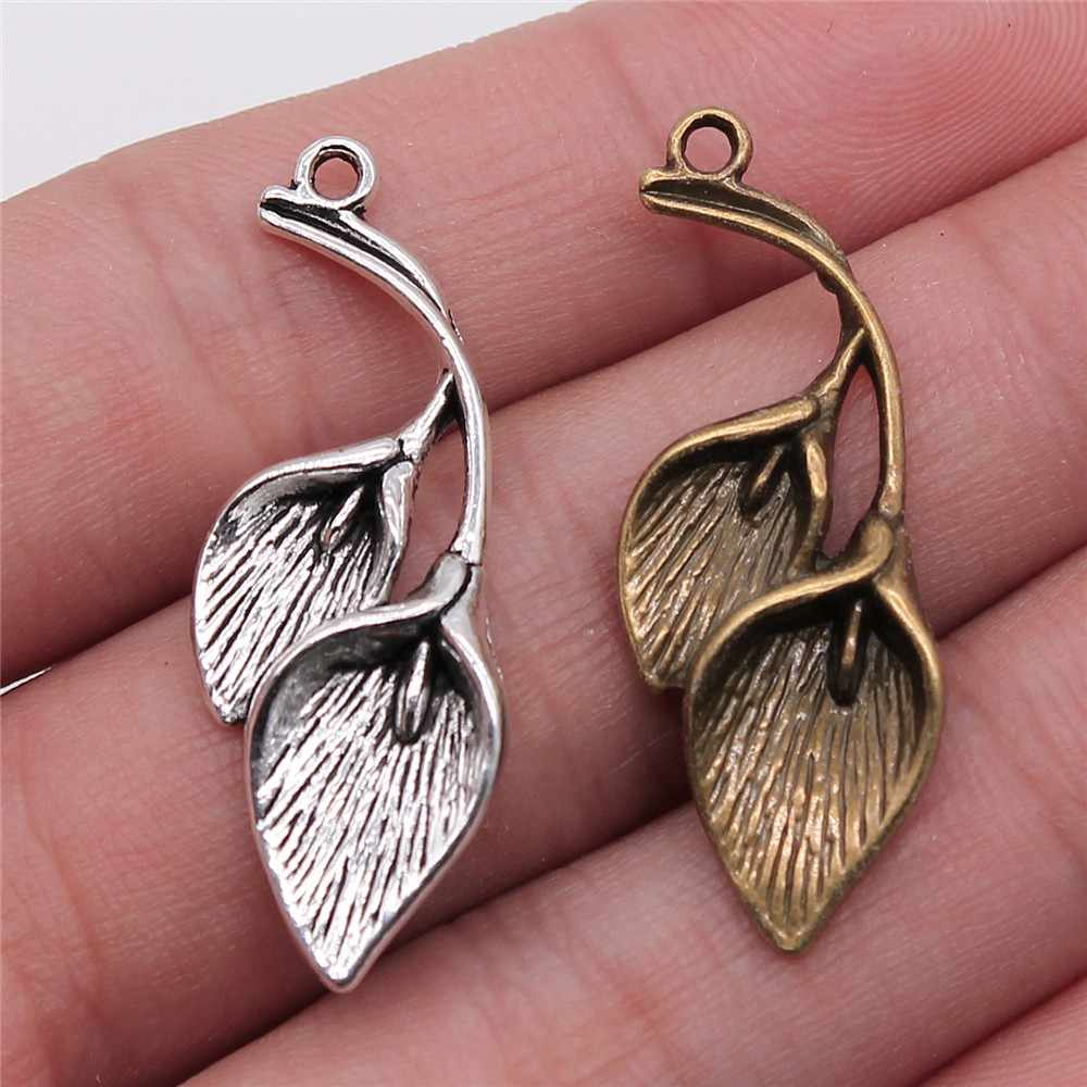 WYSIWYG 4pcs 40x14mm Pendant Calla Lily Calla Lily Charm Pendants For Jewelry Making Antique Silver Calla Lily Pendants
