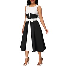 Elegant Women Sleeveless  Tank Dress Fashion Party Mid Large Size Female High Waist Vintage