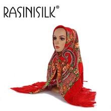 Russian National Style Women Scarf With Tasseles Large Square Pashmina Headscarf Retro Print Winter Muslim Hijab Shawl 120x120cm